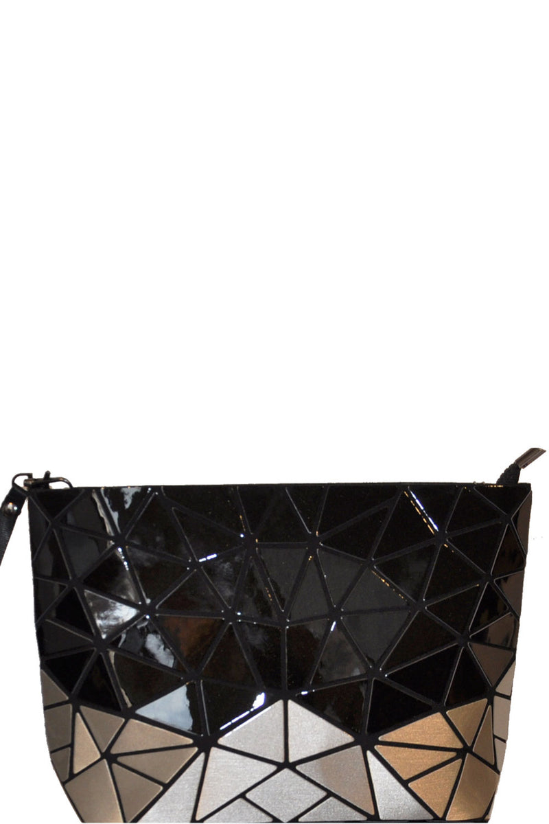 PATRIZIA LUCA TWO ONE SHINY BLACK SILVER CLUTCH 9L03B2