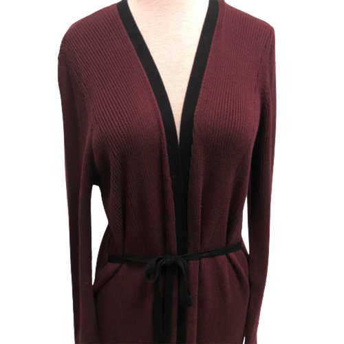 Cardigan Rib Duster Burgundy Size XL