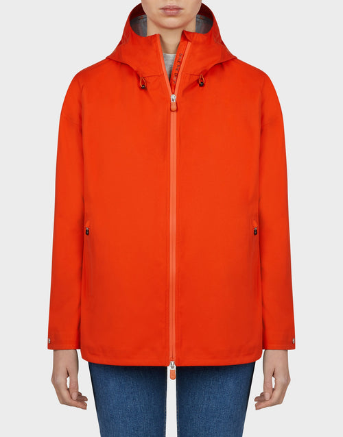 Save the Duck Womens Bark Hooded Coat in Tangerine Orange