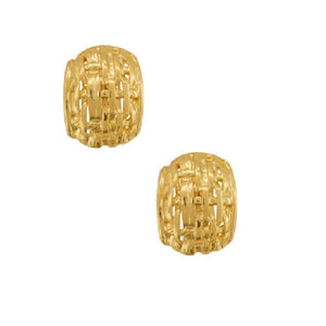 Karine Sultan basket weave dome gold plated clip earring - E63252.10