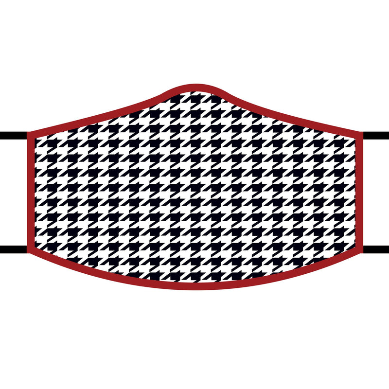 Art inspired masks: Black/White with red trim Houndstooth