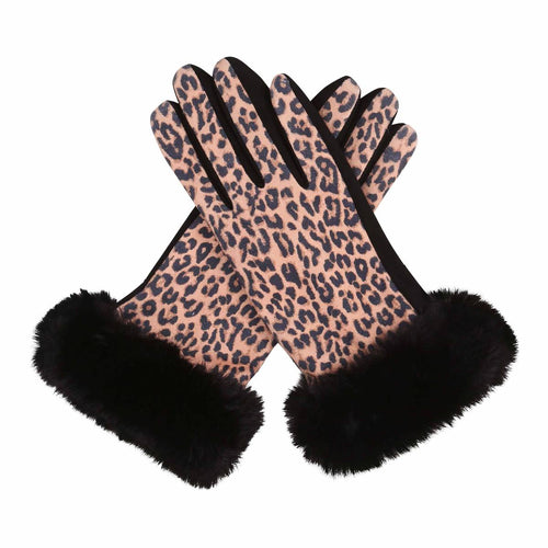 Leopard Print Fur-Trimmed Texting Gloves