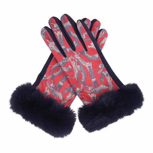 Navy & Cool Cats Print Fur-Trimmed Texting Gloves