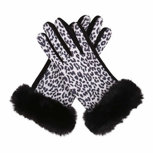 Black & White Animal Print Fur-Trimmed Texting Gloves