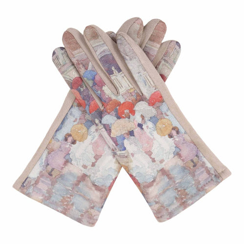 Fine Art Prendergast Umbrellas In The Rain Texting Gloves