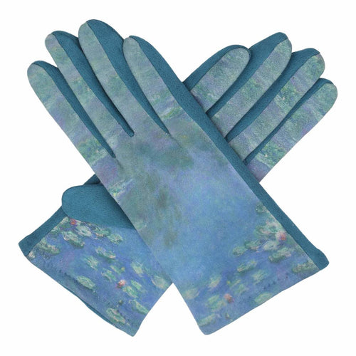 Fine Art Monet Water Lilies Texting Gloves