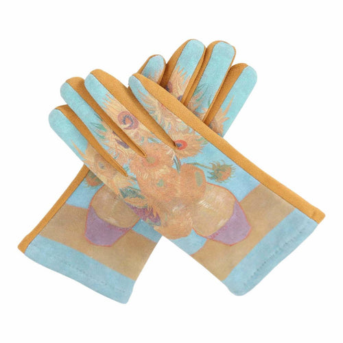 Fine Art Van Gogh Sunflowers Texting Gloves