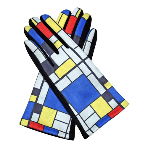 Fine Art Mondrian Composition Ii With Red, Blue, And Yellow Texting Gloves