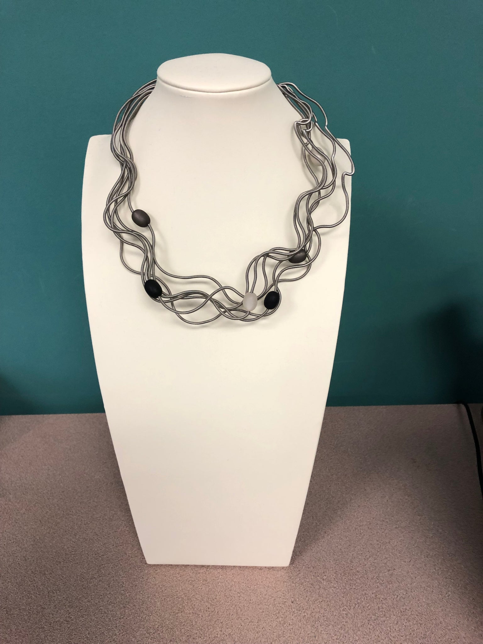 Sandrine Giraud Twirl Gray Black Beads Necklace