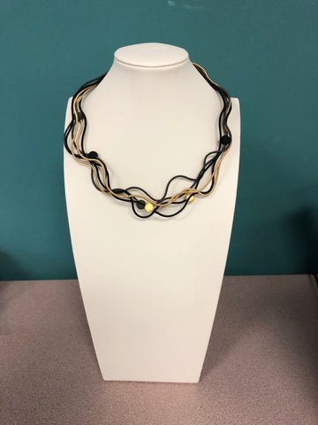 Sandrine Giraud Twirl Black Gray Gold Bead Necklace