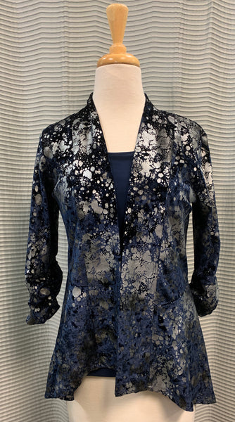 Andria Lieu Navy Silver 2 pc Kima Set Jacket Top