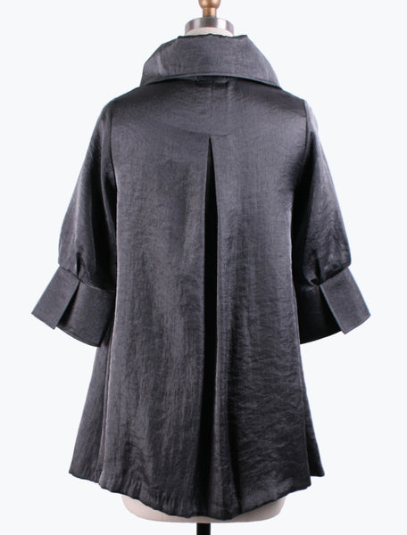 DAMEE NYC GREY LONG SWING JACKET WITH POCKETS 200