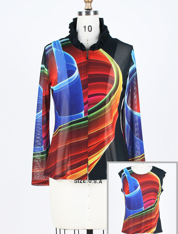 DAMEE NYC MULTI COLOR ABSTRACT HOLOGRAPHIC MESH TWIN SET 31371
