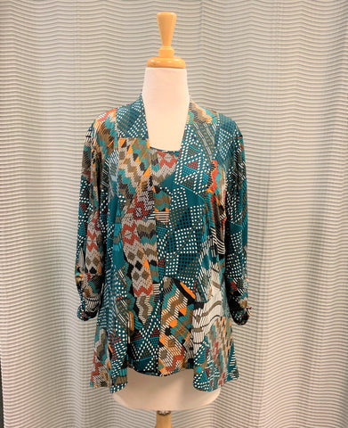 ANDRIA LIEU GREEN MULTI KIMA SET JACKET TOP 8816R