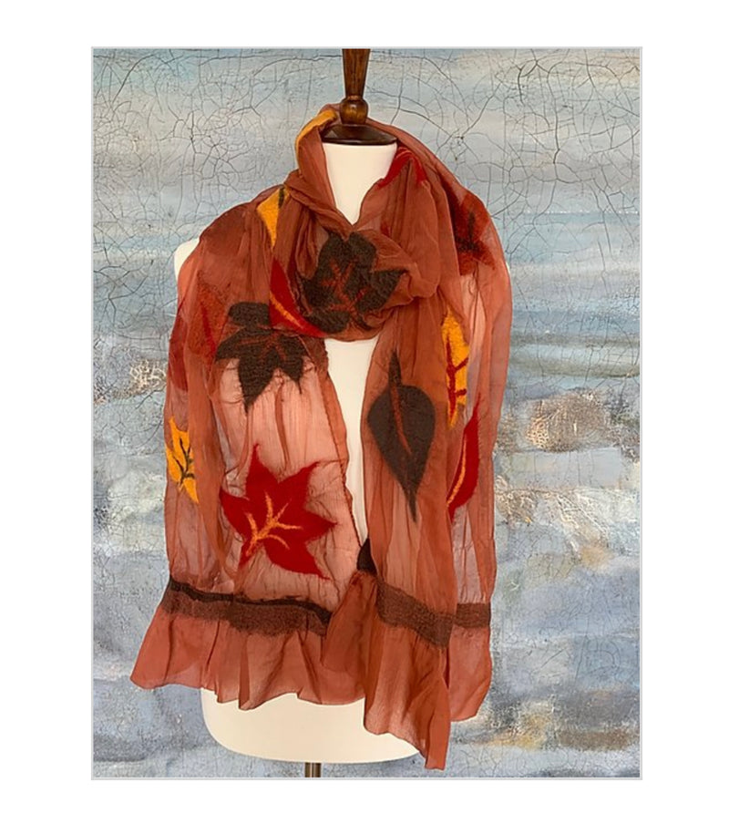POMEGRANATE MOON AUTUMN LEAVES SCARF
