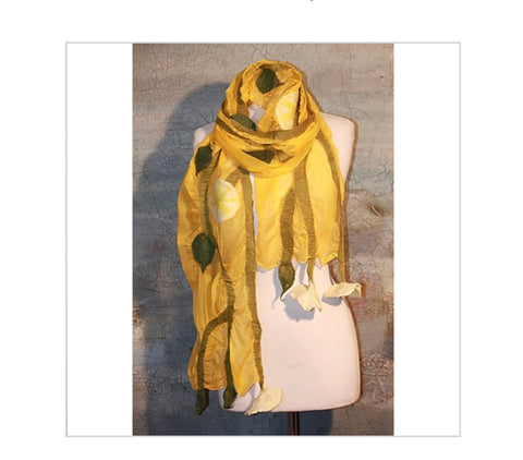 POMEGRANATE MOON GREY  YELLOW Poppy Flower Scarf