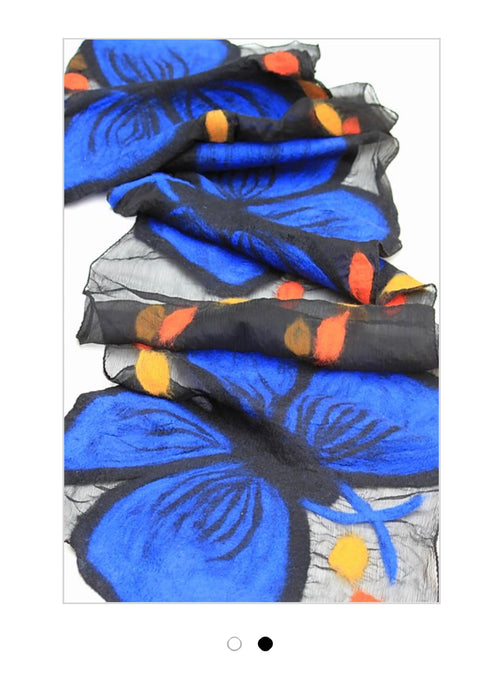 POMEGRANATE MOON Morpho Butterfly SCARF