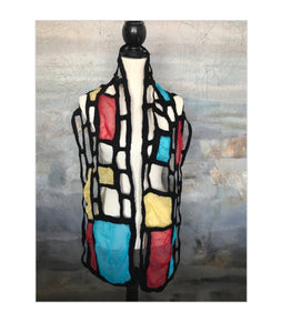 POMEGRANATE MOON WARM Mondrian Inspired Scarf