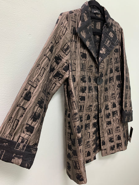 YUSHI TAUPE BLACK JACKET 2185 - FINAL SALE