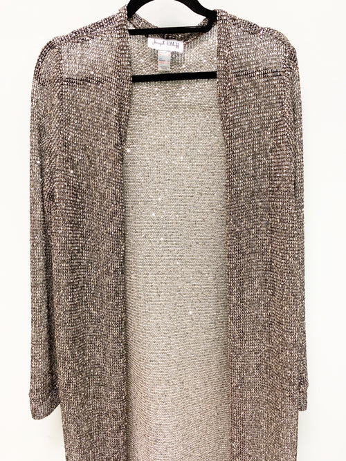 JOSEPH RIBKOFF SILVER BLACK GLITTER LONG COVER UP 164772 - FINAL SALE