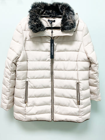 PARKHURST CREAM FAUX FUR HOODY PUFF WINTER COAT C6052 FINAL SALE