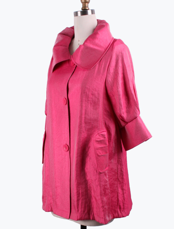 DAMEE NYC FUSCHIA LONG SWING JACKET WITH POCKETS 200