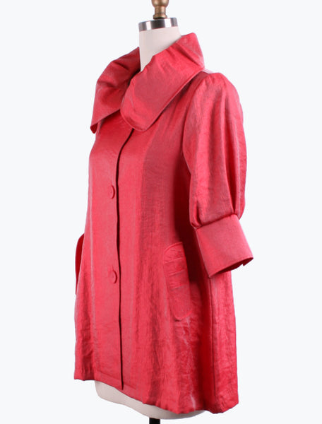 DAMEE NYC RED LONG SWING JACKET WITH POCKETS 200