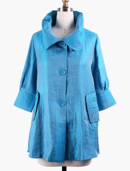 DAMEE NYC SKY LONG SWING JACKET WITH POCKETS 200