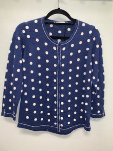 MANSTED POLKA DOTS CARDIGAN KRISS - DARK INDIGO