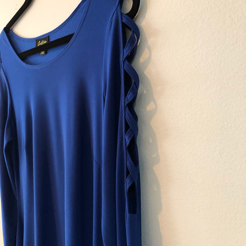 Royal blue top with cutout sleeves by Cartise size M