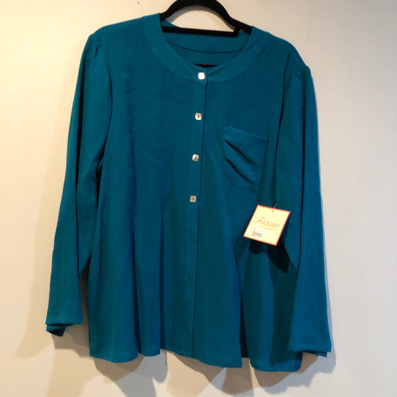 FRIDAZE Linen Blouse Teal L
