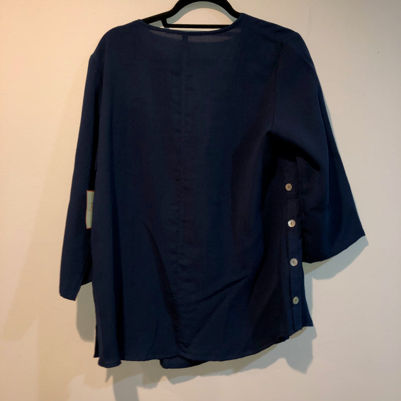 FRIDAZE Linen Blouse Navy S