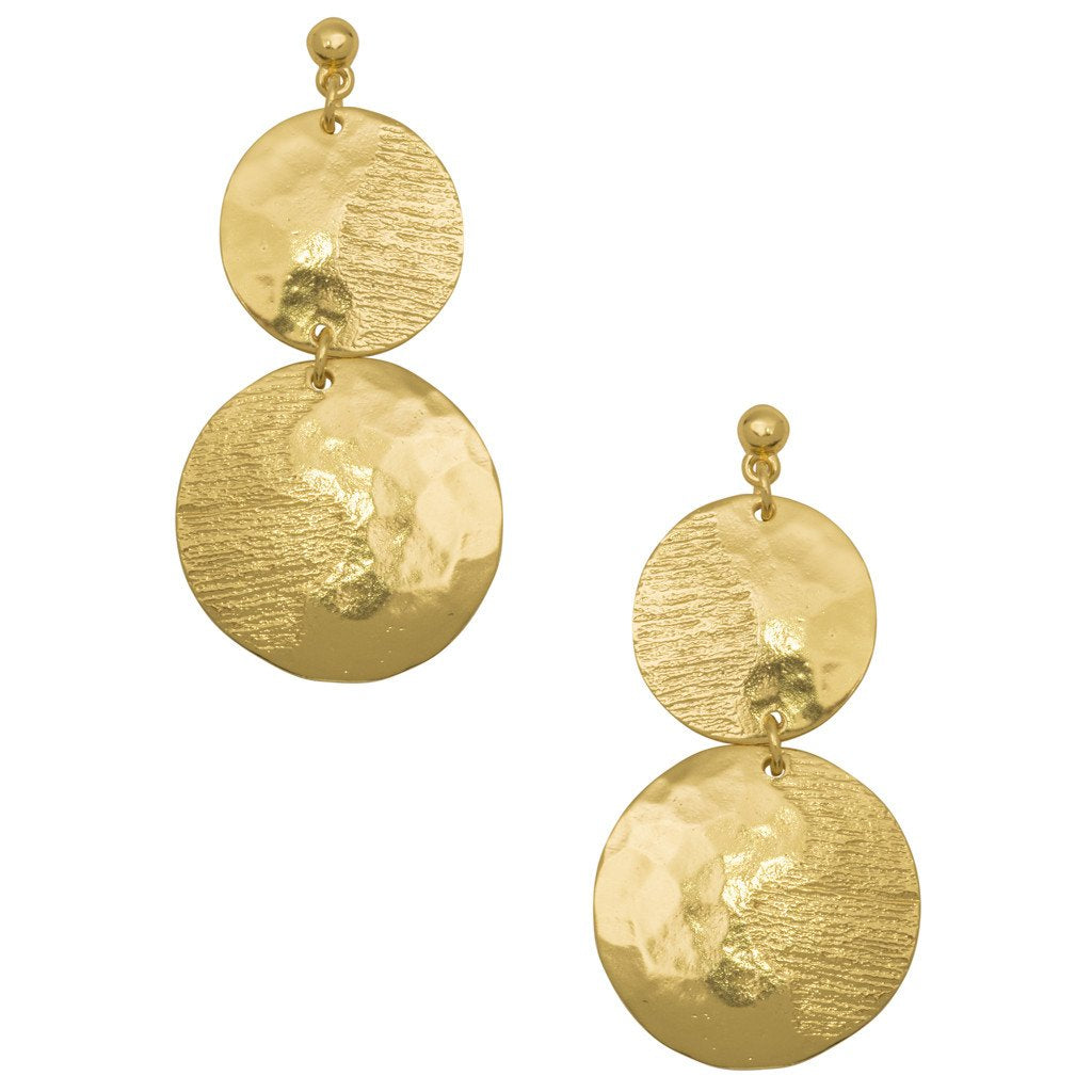 Karine Sultan overlapping circles gold plated drop earring - E64030.10