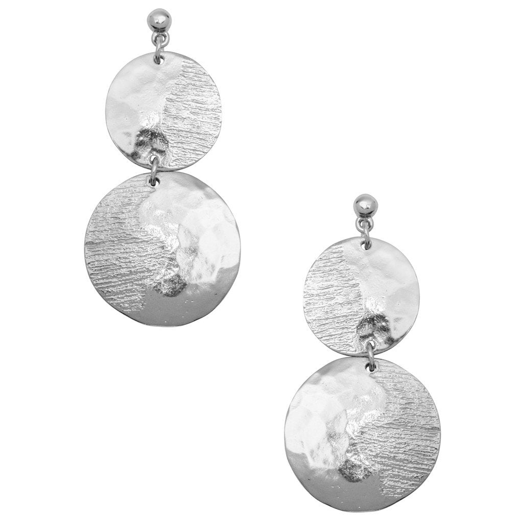 Karine Sultan overlapping circles silver plated drop earring - E64030.40