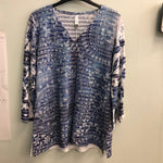 Whimsey Rose top Blues/greys/white