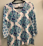 Whimsey Rose top White/Blue/turq