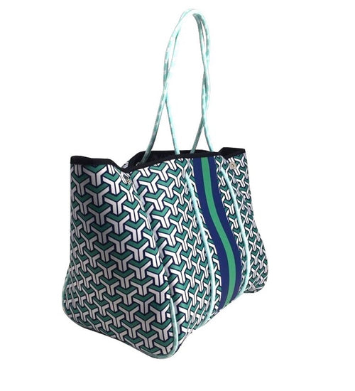 Parker & Hyde: Navy/Green Tote