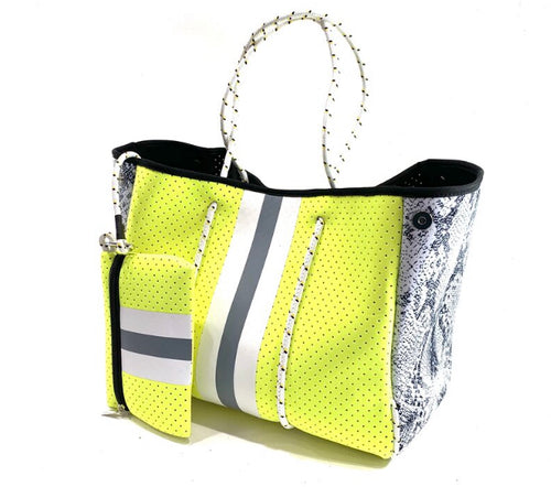 Parker & Hyde: Neon Yellow & Grey Stripe Tote