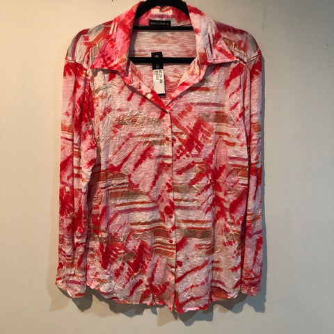 David Cline collar shirt with gold foil 4500 Salmon