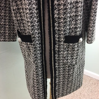 Joseph Ribkoff Long front open jacket Black/White size 10