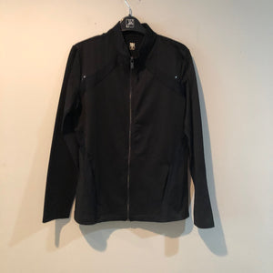 Knit Jacket, mock, zip, inserts black