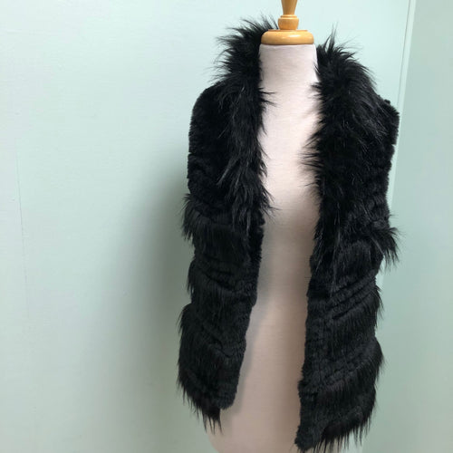 Love Token faux fur vest Black XS, M