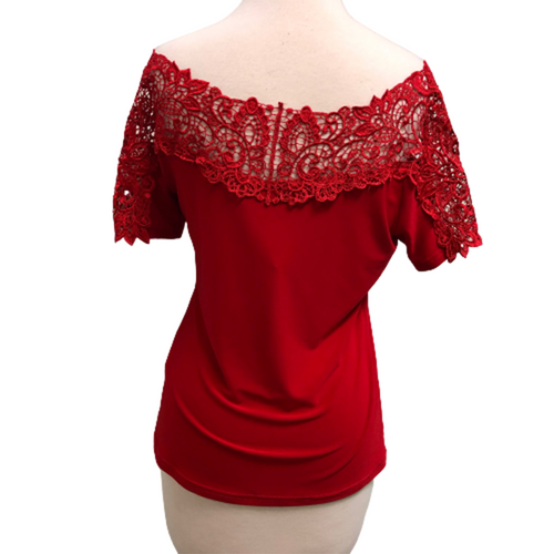 Joseph Ribkoff Red Top Lace Detail