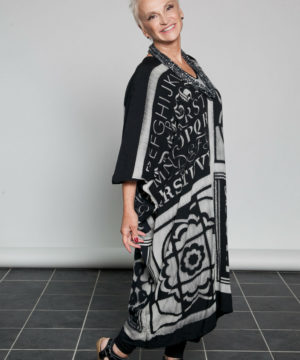 Quad print Shibori Kaftan dress O/S