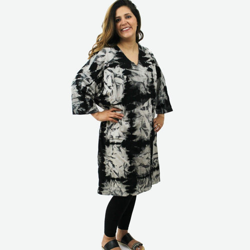 V neck crinkle pattern Shibori dress O/S