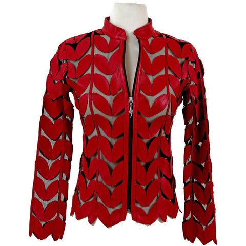 BELGIN FRANCIS Classic Leaf Design Leather Jacket - RED