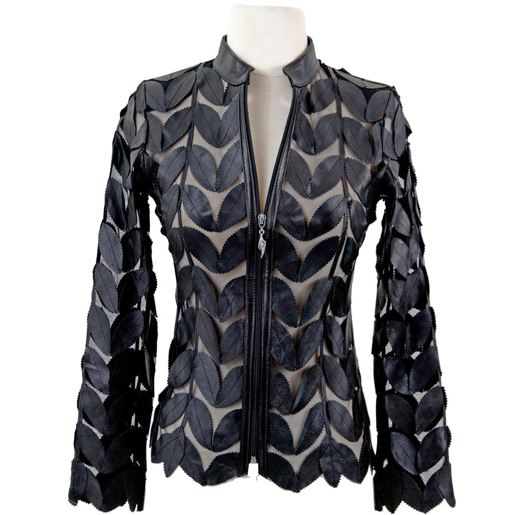 BELGIN FRANCIS Classic Leaf Design Leather Jacket - BLACK