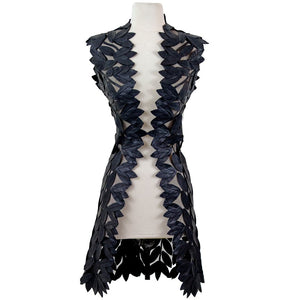 BELGIN FRANCIS Classic Leaf Design Leather Midi Vest - BLACK