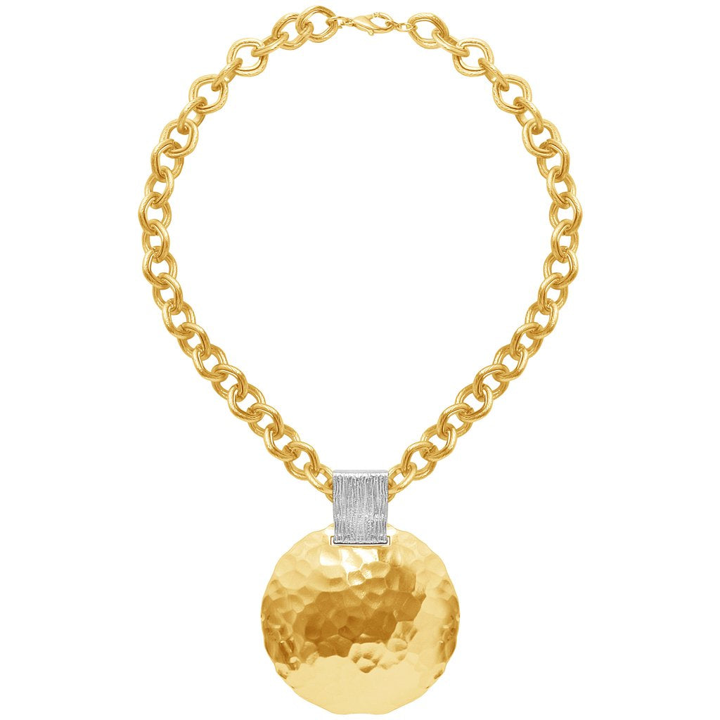 Karine sultan gold plated large chain with dome pendant - N63074.01