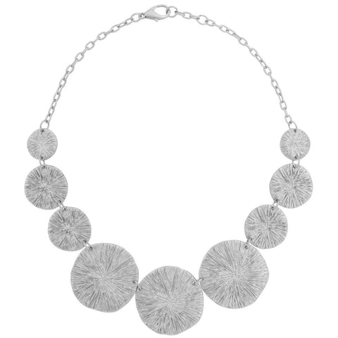 Karine Sultan large circular bark texture silver necklace - N63235.4